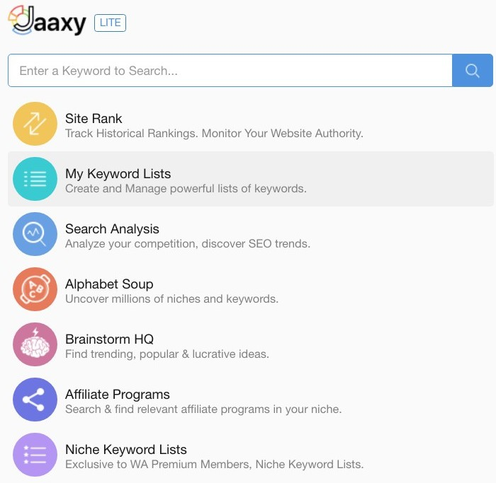 A Wealthy Affiliate University Review screenshot of the Jaaxy Keyword tool dashboard