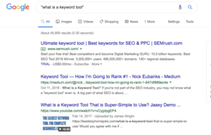 Exact match search results for what is a keyword tool