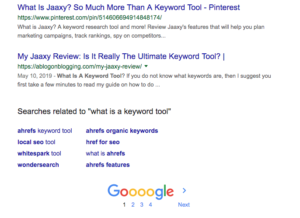 Actual number of pages for exact match search for what is a keyword tool