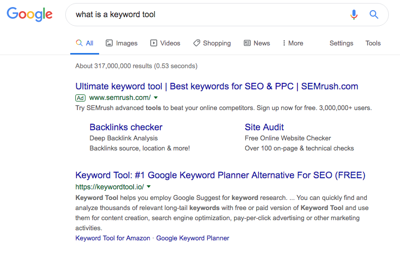 Google search results for what is a keyword tool