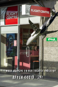 """A photo showing a travel shop promoting tourism with a plane plummeting to the ground superimposed over the photo and the words """"what happens to New Zealand's tourist industry after covid 19?"""""""