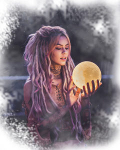 An image of a young woman staring into a crystal ball to learn what the future holds for her